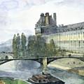 View Of The Pavillon De Flore Of The Louvre by Francois-Marius Granet