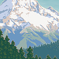 Vintage Mount Hood Travel Poster by Mitch Frey