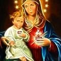 Virgin Mary And Baby Jesus Sacred Heart by Pamela Johnson