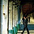 Waiter Walking At San Marco In Venice by Michael Henderson