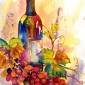 Watercolor Wine by Peggy Wilson