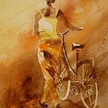 Watercolor With My Bike by Pol Ledent