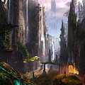 Waterfall Celtic Ruins by Alex Ruiz