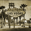 Welcome To Las Vegas Series Sepia Grunge by Ricky Barnard