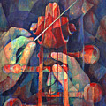 Well Conducted - Painting Of Cello Head And Conductor's Hands by Susanne Clark