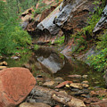 West Fork Trail River And Rock Vertical by Heather Kirk