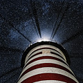 West Quoddy Head Lighthouse Night Light by Marty Saccone