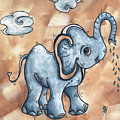 Whimsical Pop Art Childrens Nursery Original Elephant Painting Adorable By Madart by Megan Duncanson