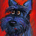 whimsical Schnauzer dog painting by Svetlana Novikova