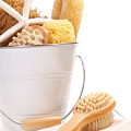 White Bucket Filled With Sponges And Scrub Brushes  by Sandra Cunningham