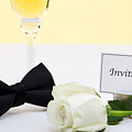 White Rose Bow Tie And Invitation. by Richard Thomas