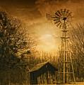 Windmill At Sunset by Iris Greenwell