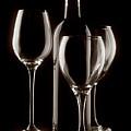 Wine Bottle And Wineglasses Silhouette II by Tom Mc Nemar