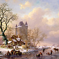 Winter Landscape With Castle by Frederick Marianus Kruseman