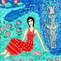 Woman Reading Beside Fountain by Sushila Burgess