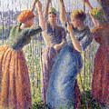 Women Planting Peasticks by Camille Pissarro