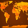 World Map Fall Colours by Michael Tompsett