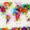 World Map Paint Drop by Michael Tompsett