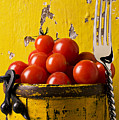 Yellow Bucket With Tomatoes by Garry Gay