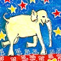 Yellow Elephant Facing Right by Sushila Burgess