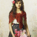 Young Girl With Blossoms by Alexei Alexevich Harlamoff