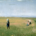 Young Girls Picking Flowers In A Meadow by Michael Peter Ancher