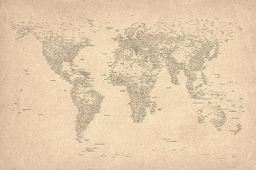 Michael Tompsett - World Map of Cities Print