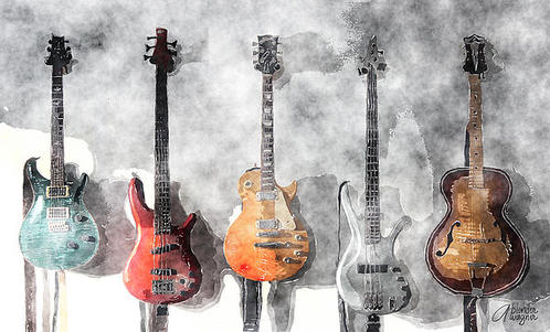 Arline Wagner - Guitars On The Wall Print