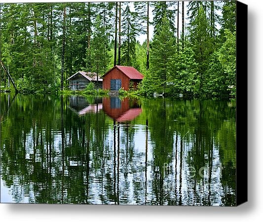 Micah May - Boat house on Swedish lak... Print