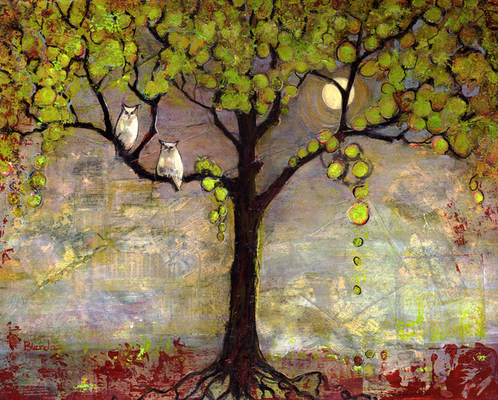 Blenda Studio - Moon River Tree Owls Art Print