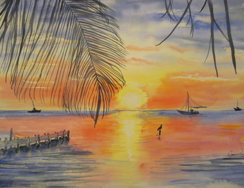 Joann Perry - Belize at Sunset Print