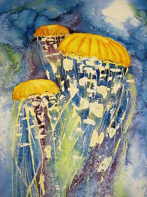 Joann Perry - Jellyfish on the move Print