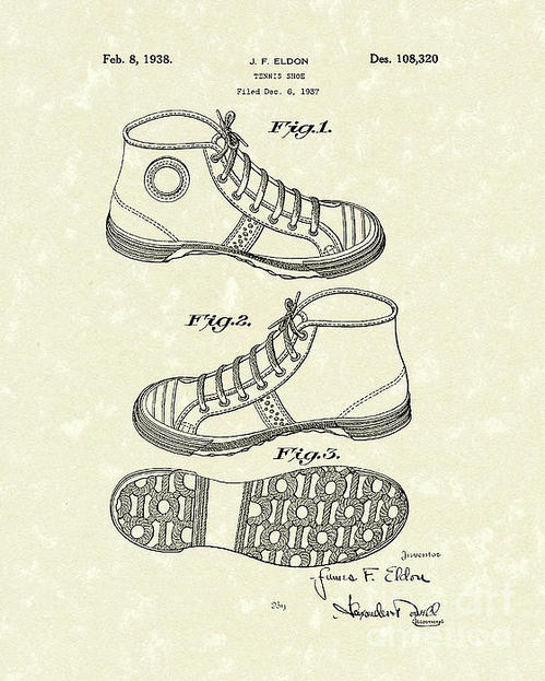 Prior Art Design - Tennis Shoe 1938 Patent A... Print