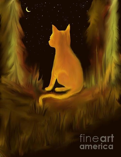 Rhonda Clapprood - Kitty In The Moonlight Print
