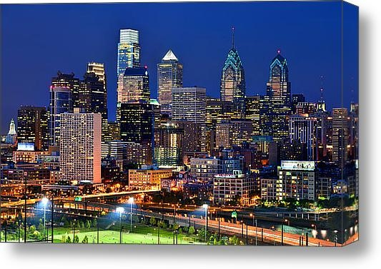 Jon Holiday - Philadelpia Skyline at Ni... Print