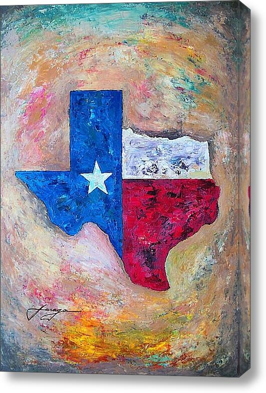 Dan Haraga - Texas Map Flag Print