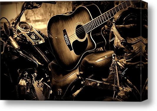 Karen Kersey - Harley with Guitar Print