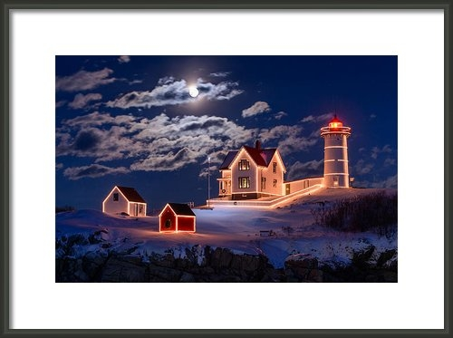 Michael Blanchette - Moon over Nubble Print