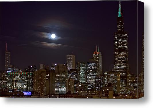 Abby D Santiago - Full Moon over Chicago Print