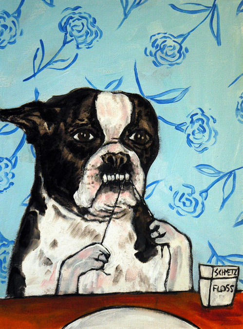 Jay  Schmetz - Boston Terrier Flossing Print
