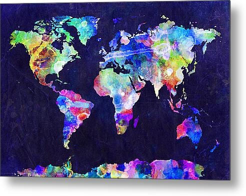 Michael Tompsett - World Map Urban Watercolo... Print