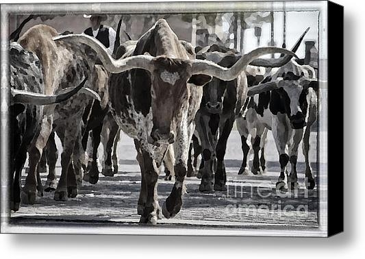 Joan Carroll - Watercolor Longhorns Print