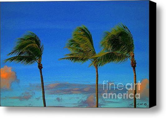 Lew Lautin - Palm Trees at The Ocean C... Print
