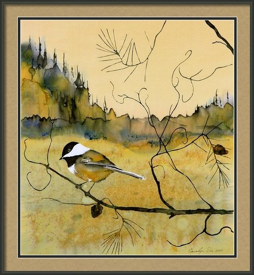 Carolyn Doe - Chickadee In Dancing Pine Print
