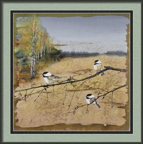 Carolyn Doe - Chickadees and a row of B... Print