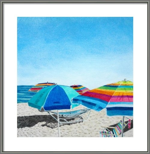 Glenda Zuckerman - Beach Umbrellas Print