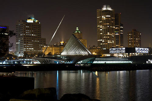 Doug Morrissey - Milwaukee Lakefront at Ni... Print
