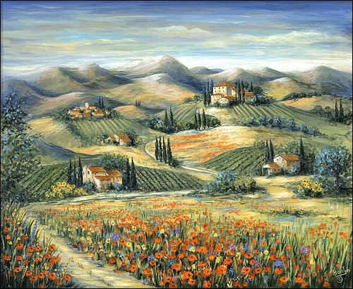 Marilyn Dunlap - Tuscan Villa and Poppies Print