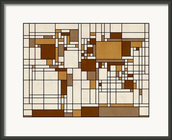 Michael Tompsett - World Map Abstract Mondri... Print