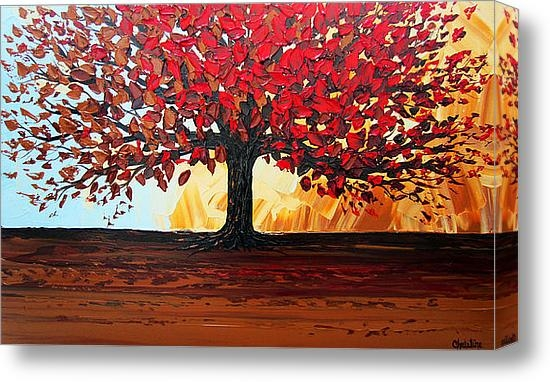 Christine Krainock - Red Autumn Tree of Life Print